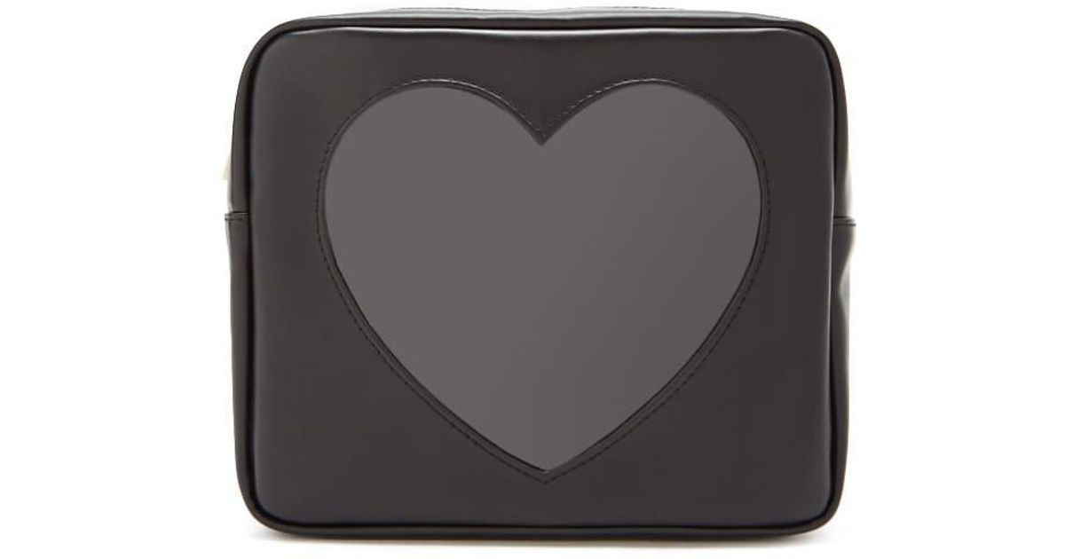 00d683fe993 Lyst - Forever 21 Faux Leather Heart-insert Makeup Bag in Black