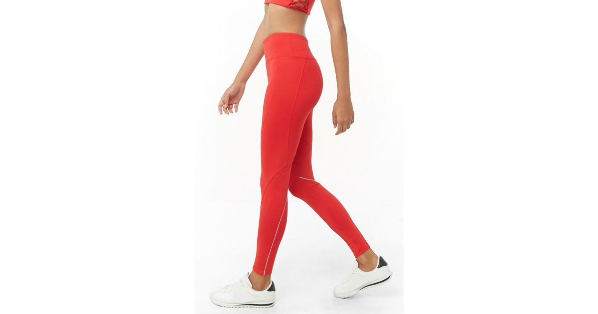 ba90befb83 Lyst - Forever 21 Active Total Coverage Seamed Leggings in Red
