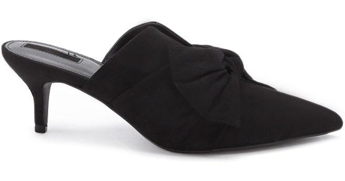 1cc309aae7f Forever 21 - Black Pointed Toe Bow Mules - Lyst