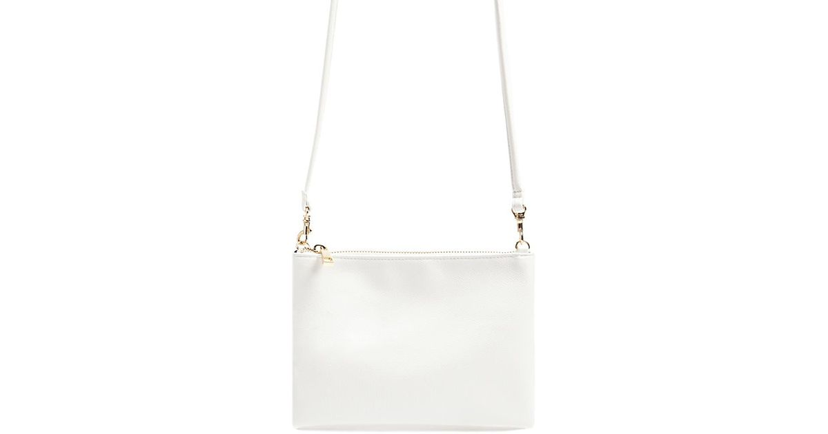 97abcff4be3e Lyst - Forever 21 Textured Faux Leather Crossbody Bag in White