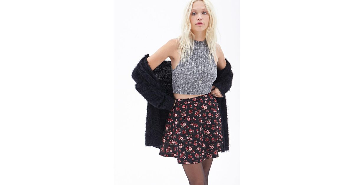 b5f4343a8a Forever 21 Floral Scuba Knit Skater Skirt in Black - Lyst