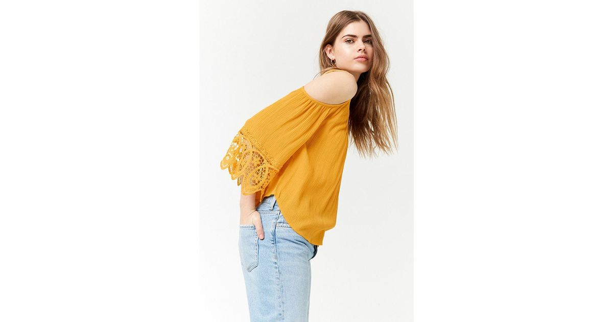 a1c974dac6de9c Lyst - Forever 21 Open-shoulder Blouse in Yellow