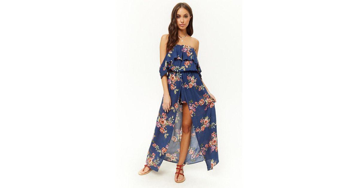 2b72b7a15b8e Lyst - Forever 21 Floral Off-the-shoulder Maxi Skort Romper in Blue