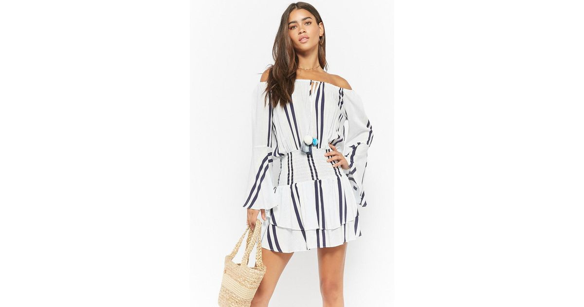 a223cde6fb7b Lyst - Forever 21 Surf Gypsy Striped Off-the-shoulder Dress in Blue