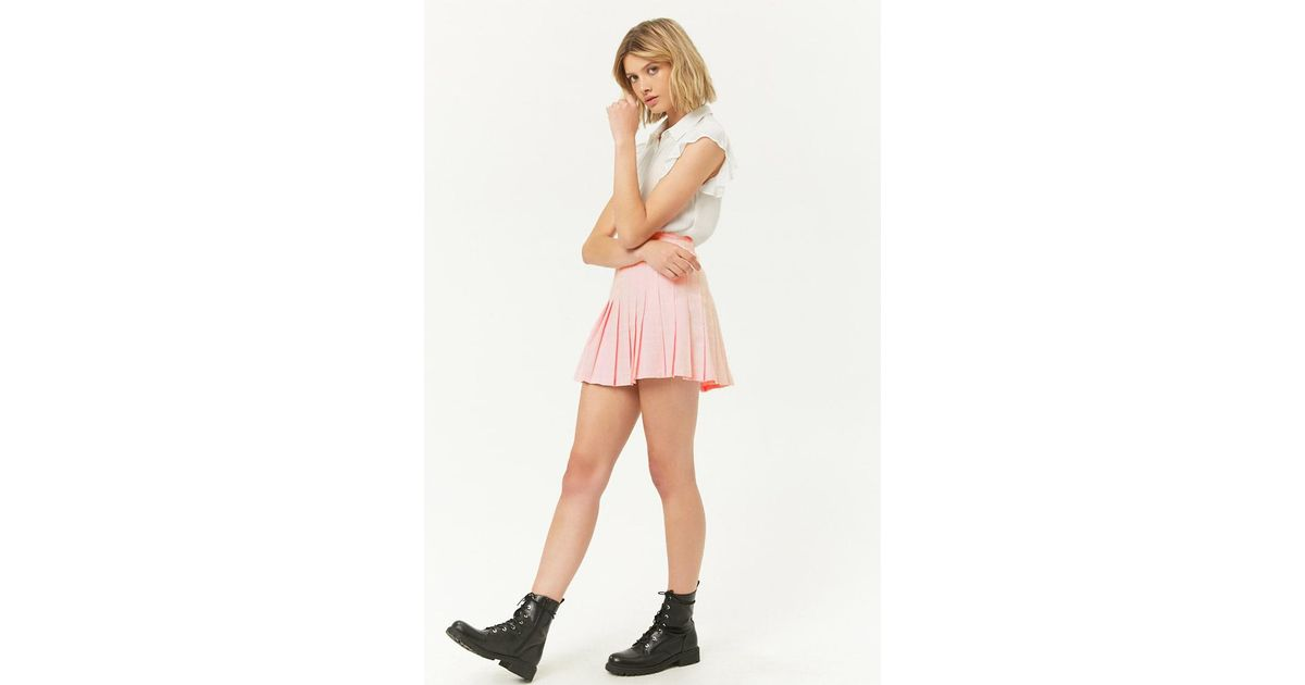 29f40e2a8a Forever 21 Grid Knife Pleat Mini Skirt in Pink - Lyst