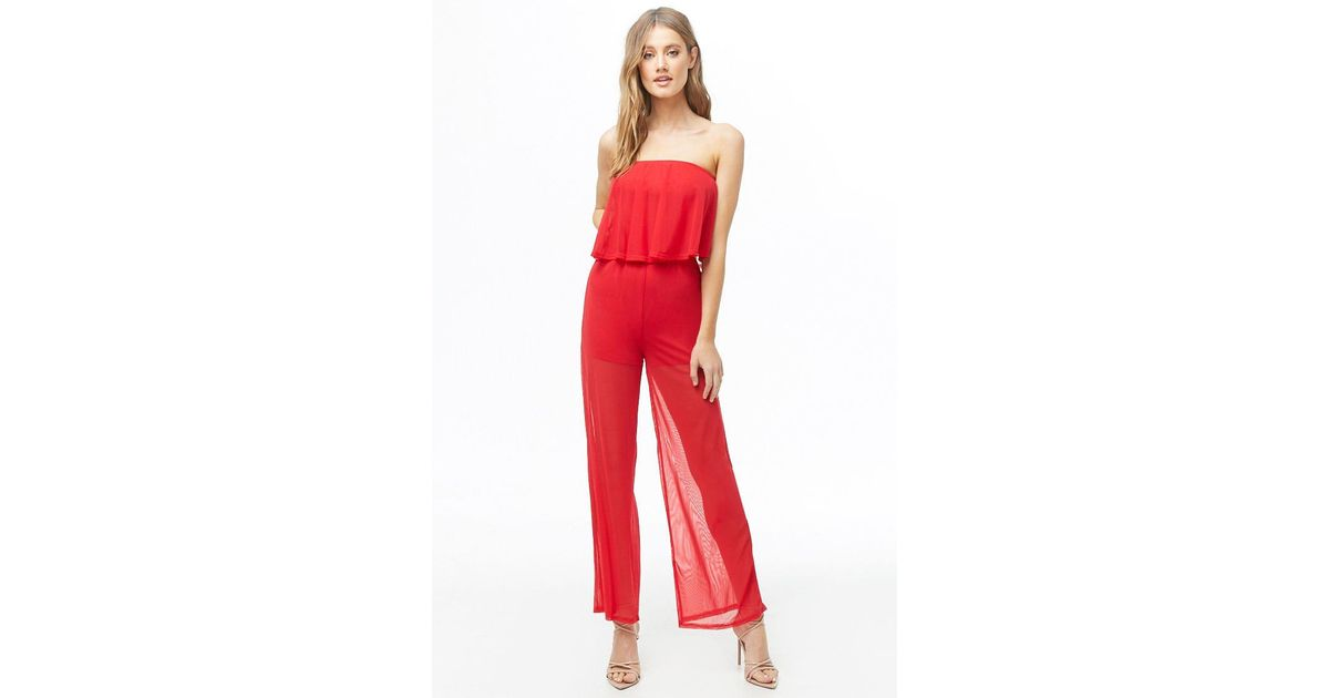 d0e1bd7ba464 Forever 21 Mesh Flounce Jumpsuit in Red - Lyst