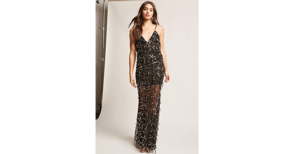 fe00565c6e9c Forever 21 Sequin Mesh Gown in Black - Lyst