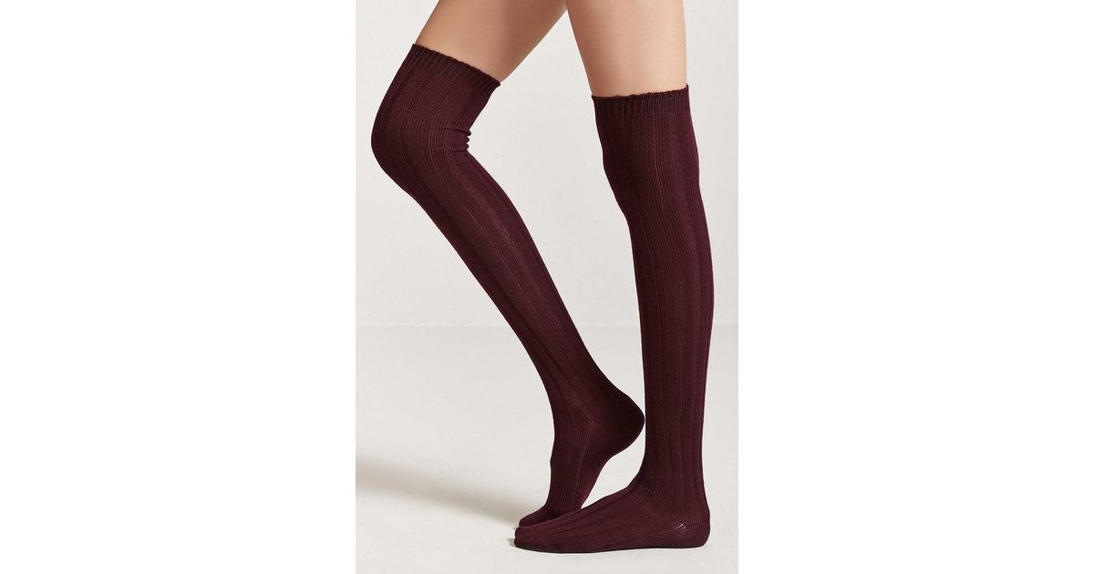 7d0112d424b Lyst - Forever 21 Ribbed Over-the-knee Socks in Purple