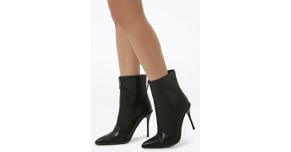 b5d40602253d Forever 21 Beaded Faux Leather Booties in Black - Lyst