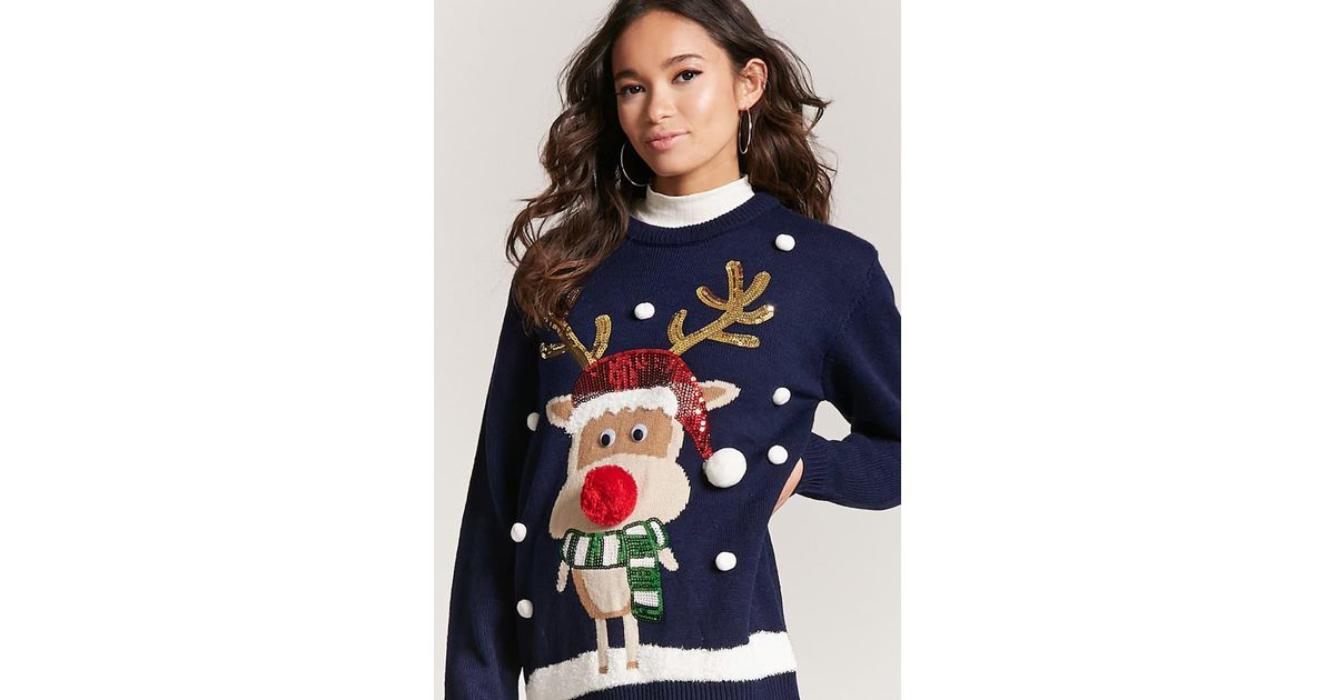 Forever 21 Reindeer Holiday Sweater in Blue | Lyst