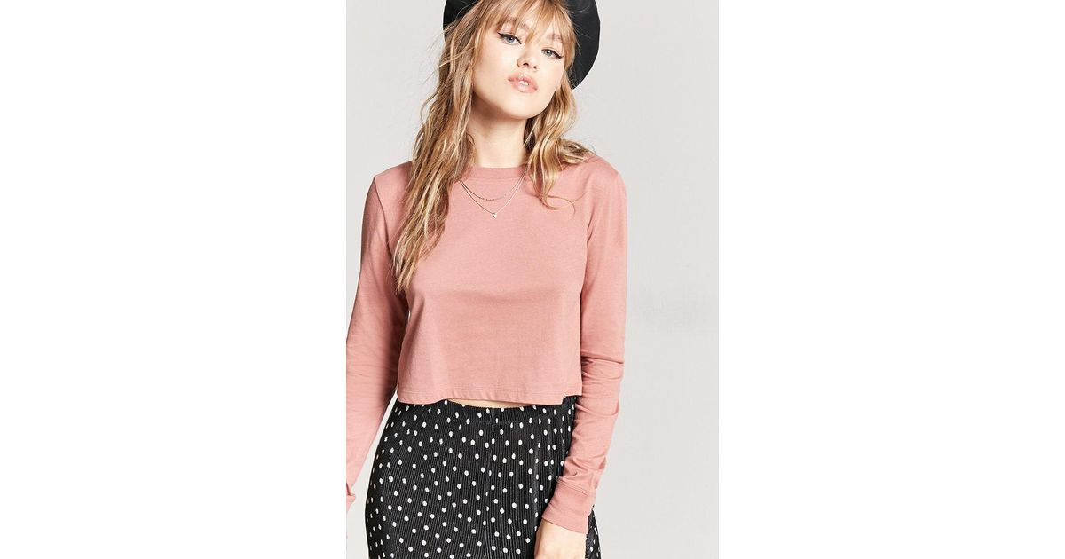 a04aa2fa39c993 Forever 21 Long Sleeve Semi-cropped Tee in Pink - Lyst