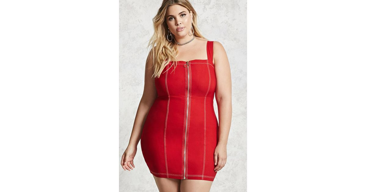 Lyst Forever 21 Plus Size Zipper Bodycon Dress In Red