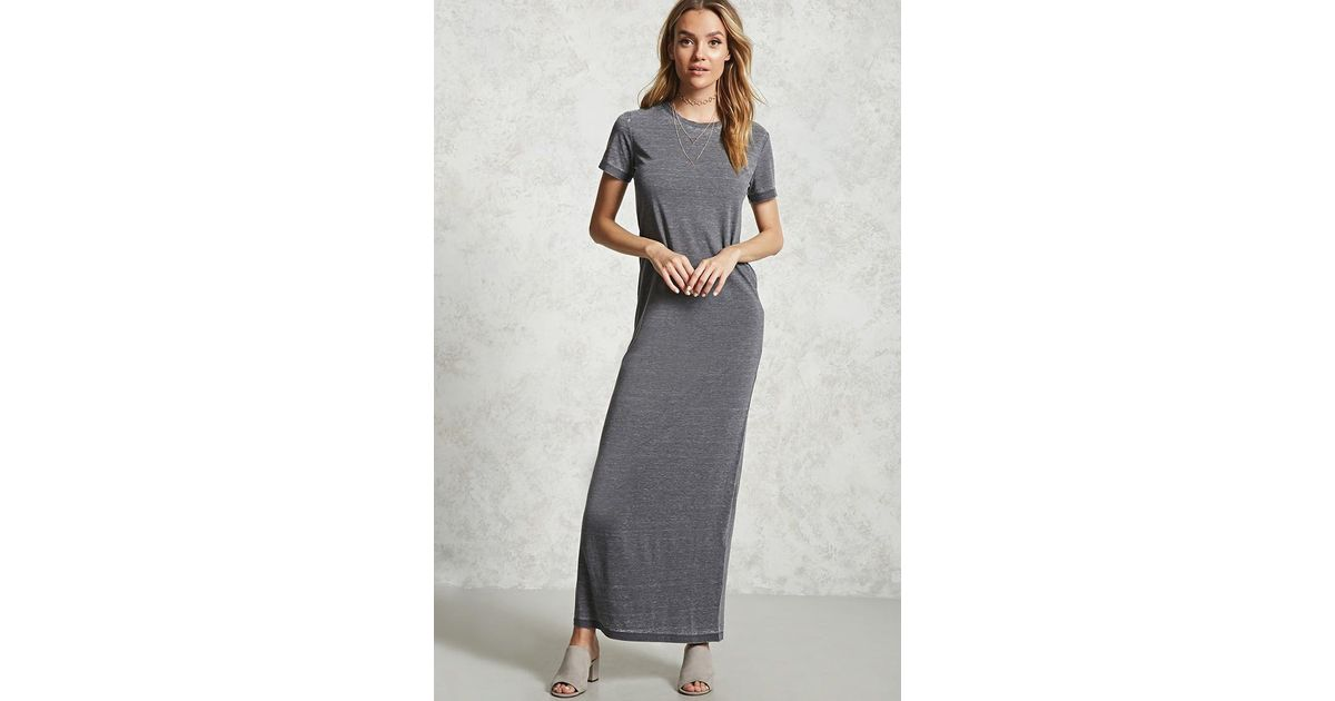 7fc63fe84 Forever 21 Burnout T-shirt Maxi Dress in Gray - Lyst