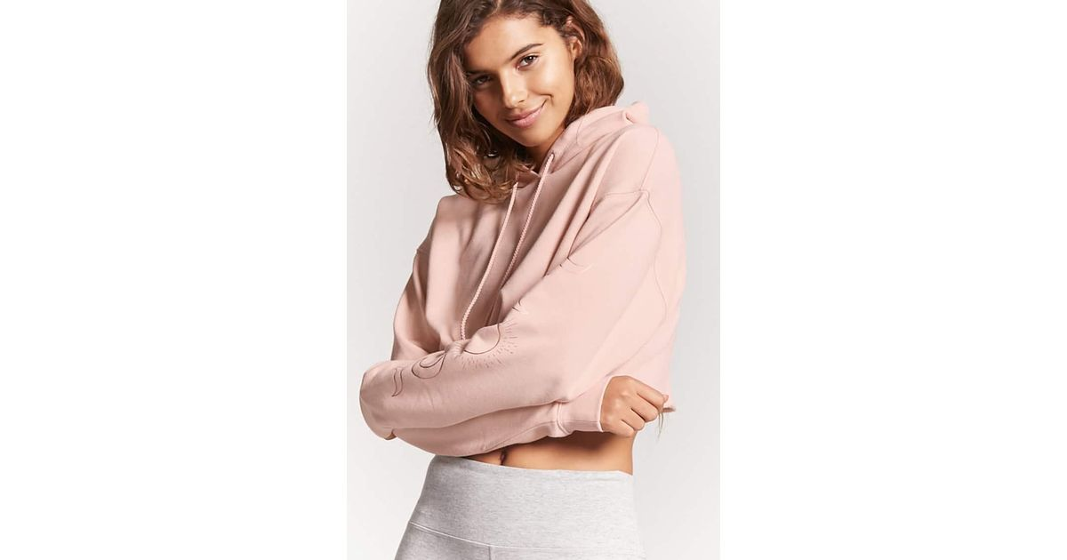 b30ace38ee285 Lyst - Forever 21 Active Moon Graphic Hoodie in Pink
