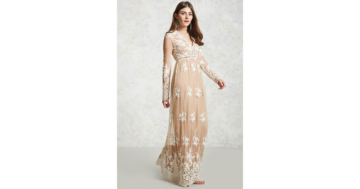 66ee856f Forever 21 Embroidered Maxi Dress in Natural - Lyst