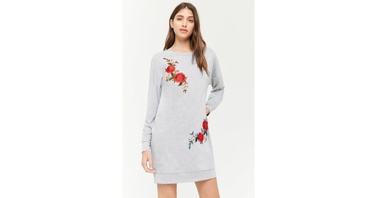 Lyst forever floral applique mini dress in gray