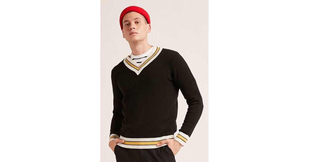 d97c7f4517bd Forever 21 Contrast Striped V-neck Sweater in Black for Men - Lyst