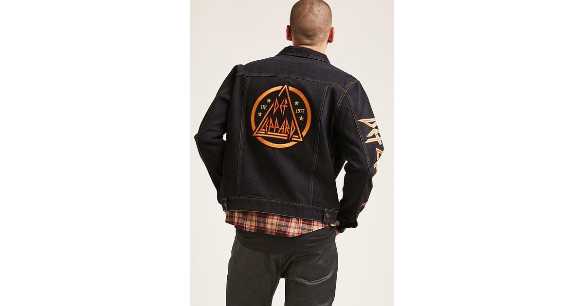 9c5a68f685 Lyst - Forever 21  s Def Leppard Denim Jacket in Black for Men