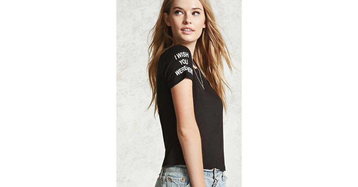 4b41d09c Forever 21 Wish You Were Here Graphic Tee in Black - Lyst