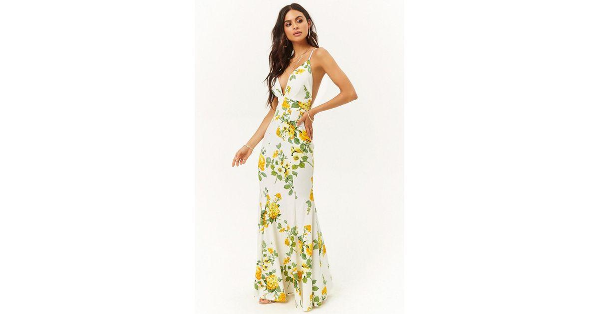 23c739b1d868 Lyst - Forever 21 Garden Floral Print Mermaid Dress in White