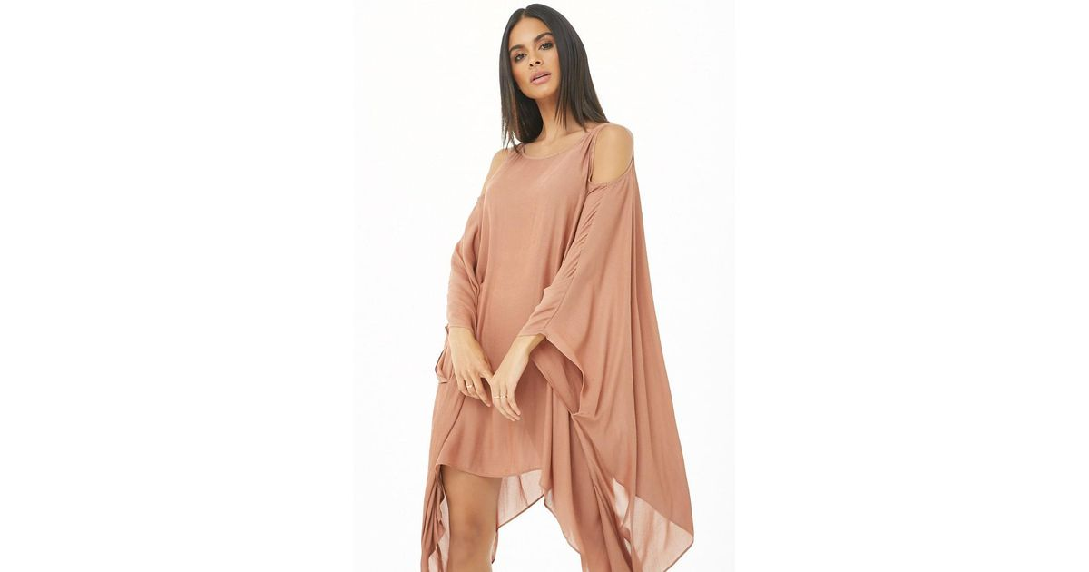 975c6b36d89a1 Forever 21 Women's Open-shoulder Kaftan Swim Cover-up in Brown - Lyst