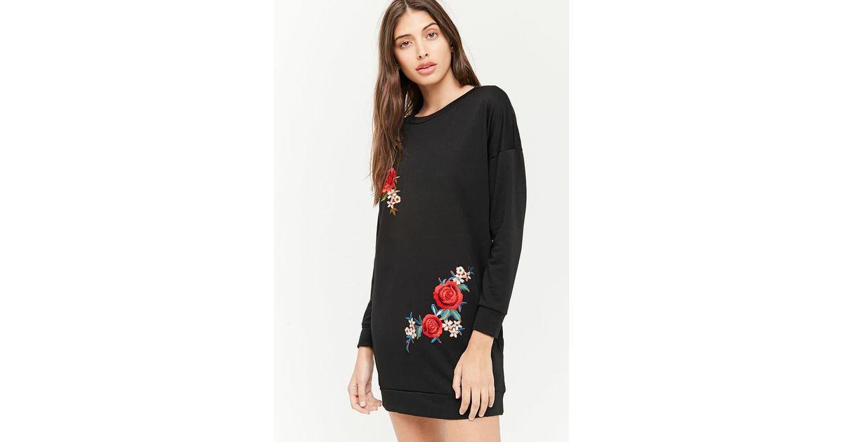 Lyst forever floral applique mini dress in black