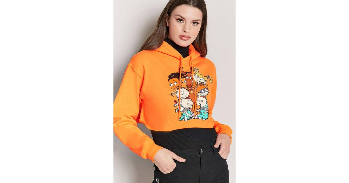 2cdf637f7fc5 Lyst - Forever 21 Rugrats Graphic Cropped Hoodie in Orange