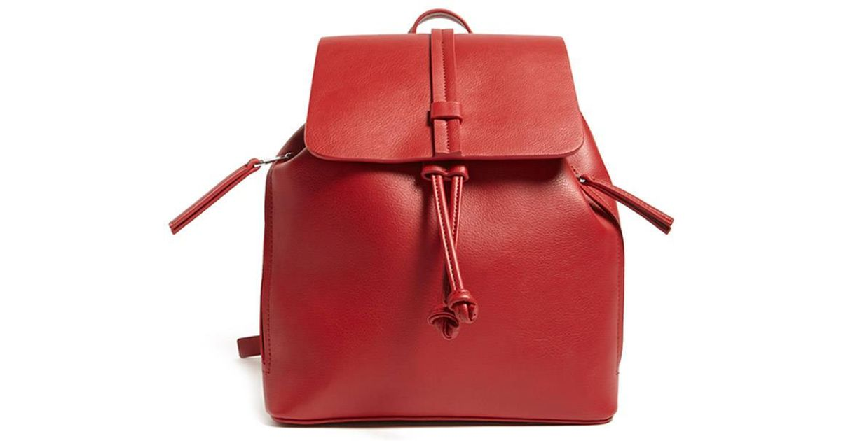 2cbb688da4 Lyst - Forever 21 Faux Leather Flap-top Backpack in Red