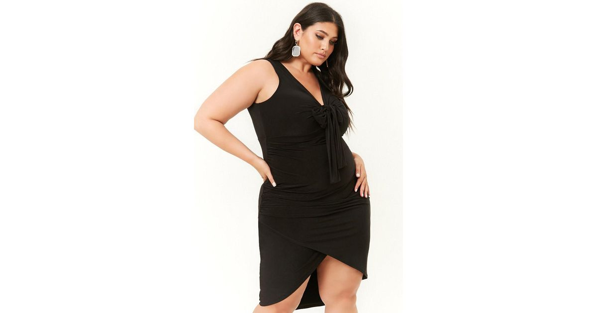704e7c36f65 Forever 21 - Black Plus Size Tie-front High-low Dress - Lyst