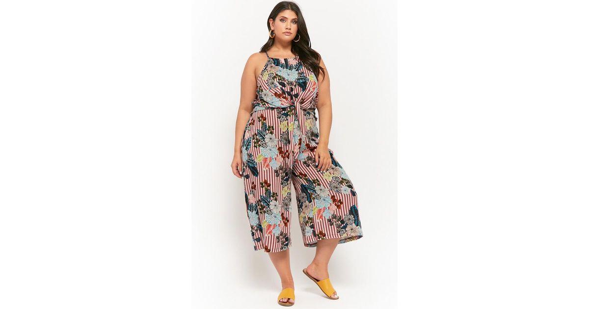 2c826b03447 Forever 21 Women s Plus Size Floral Striped Tie-front Jumpsuit - Lyst