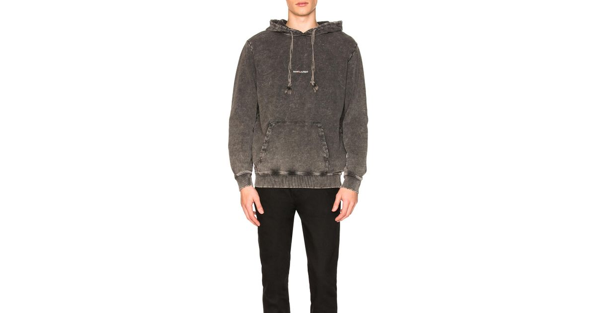 f4770e58971a Lyst - Saint Laurent Overdyed Logo Hoodie in Black