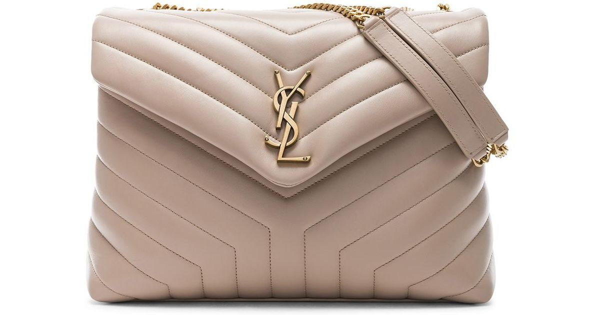 Lyst - Saint Laurent Medium Supple Monogramme Loulou Chain Bag in Natural 62a0bf138b2cd