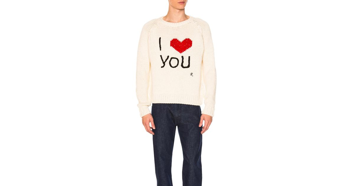 651d6d14949ff Raf Simons I Love You Sweater in White - Lyst