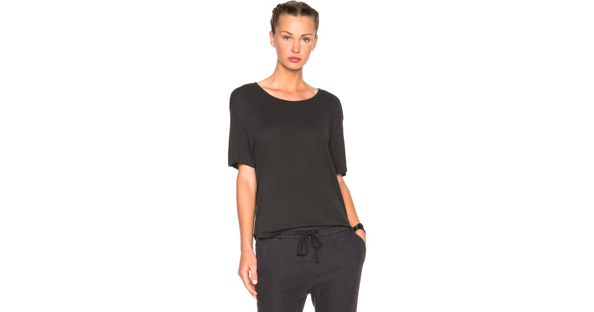c599881fe8bbb Lyst - James Perse Relaxed Linen Jersey Tee In Carbon in Black