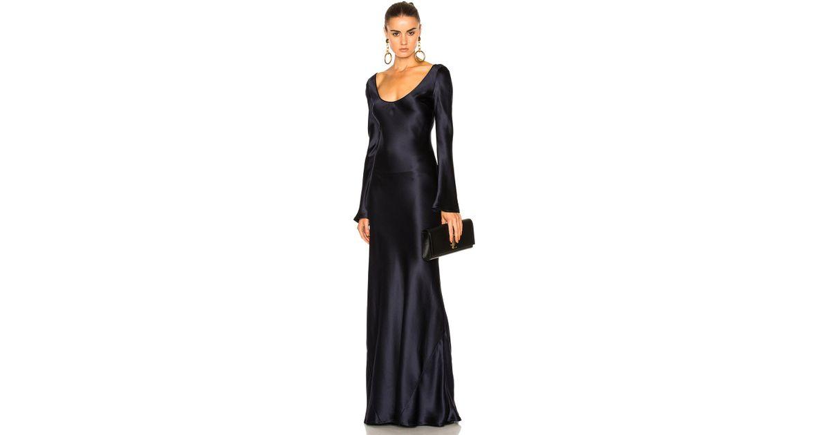 Lyst Galvan London Long Sleeved Slip Dress In Blue