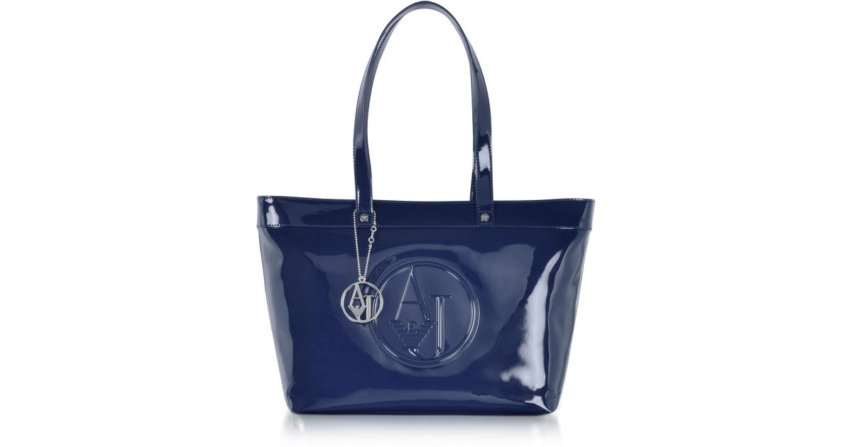 510332ab4870 Armani Jeans Midnight Blue Eco Patent Leather Large Tote Bag in Blue - Lyst