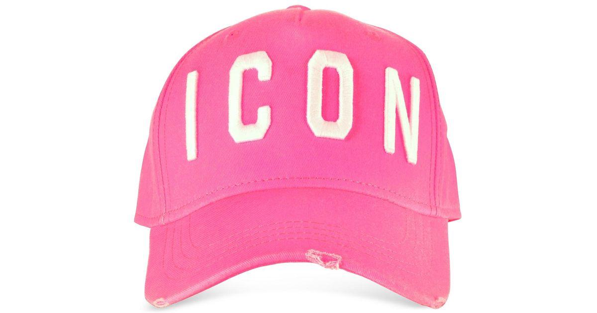 f082707d0 DSquared² - Pink Embroidered Icon Logo Gabardine Baseball Cap for Men - Lyst