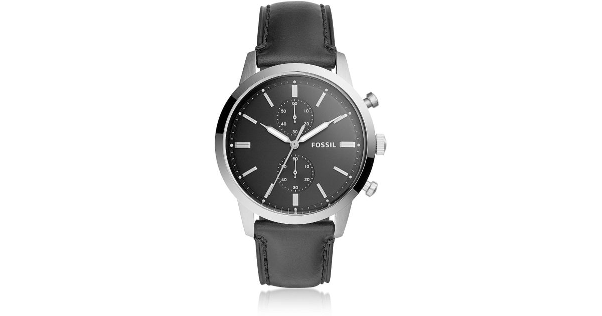 93219b9c046f8 Fossil 44mm Townsman Chronograph Black Leather Men s Watch in Metallic for  Men - Lyst