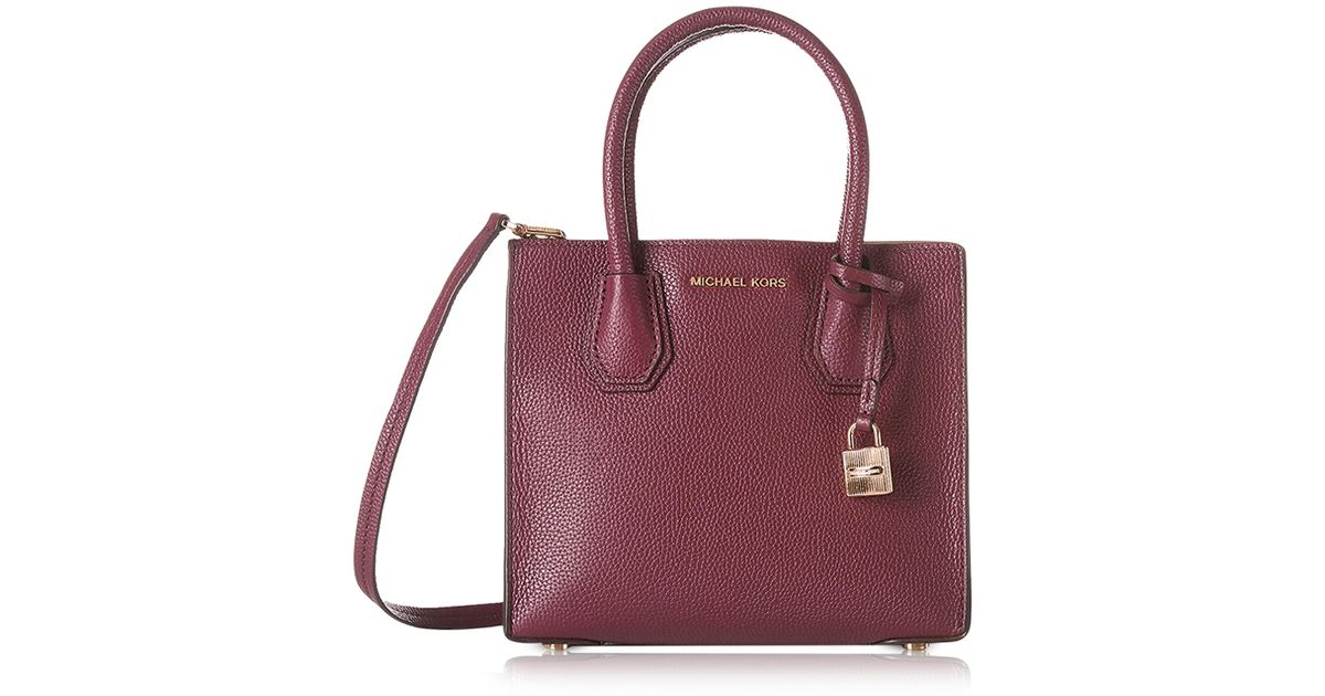 abc881be6d317 Lyst - Michael Kors Mercer Medium Mulberry Pebble Leather Crossbody Bag in  Purple