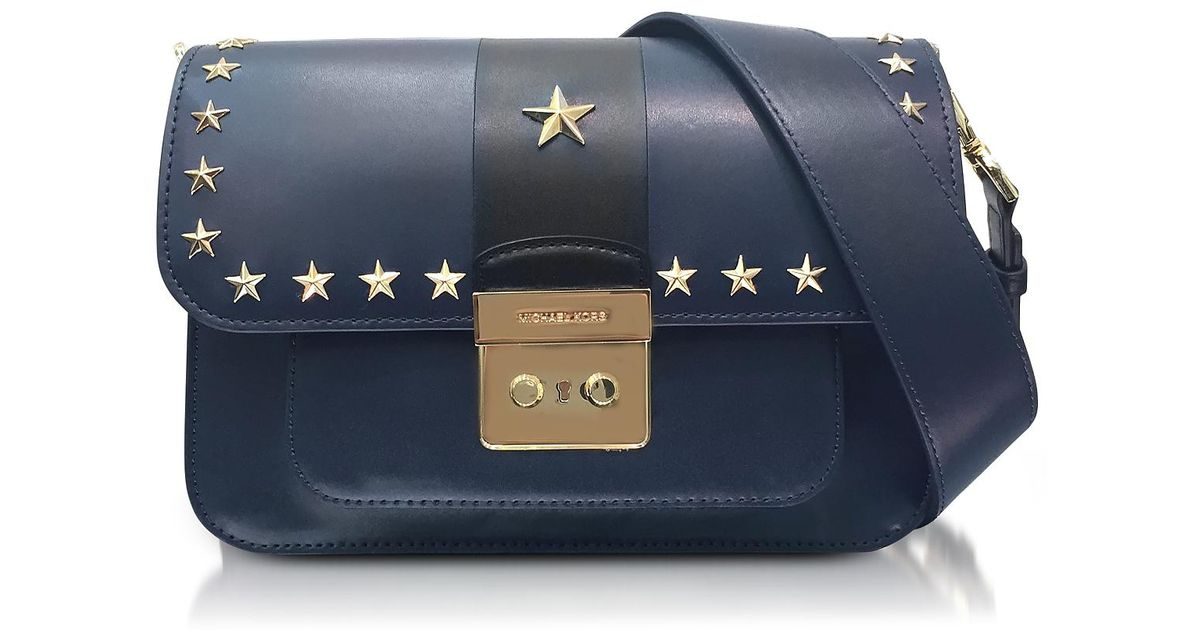 79a617597de5 Lyst - Michael Kors Sloan Editor Large Admiral And Black Leather Shoulder  Bag W stars in Blue