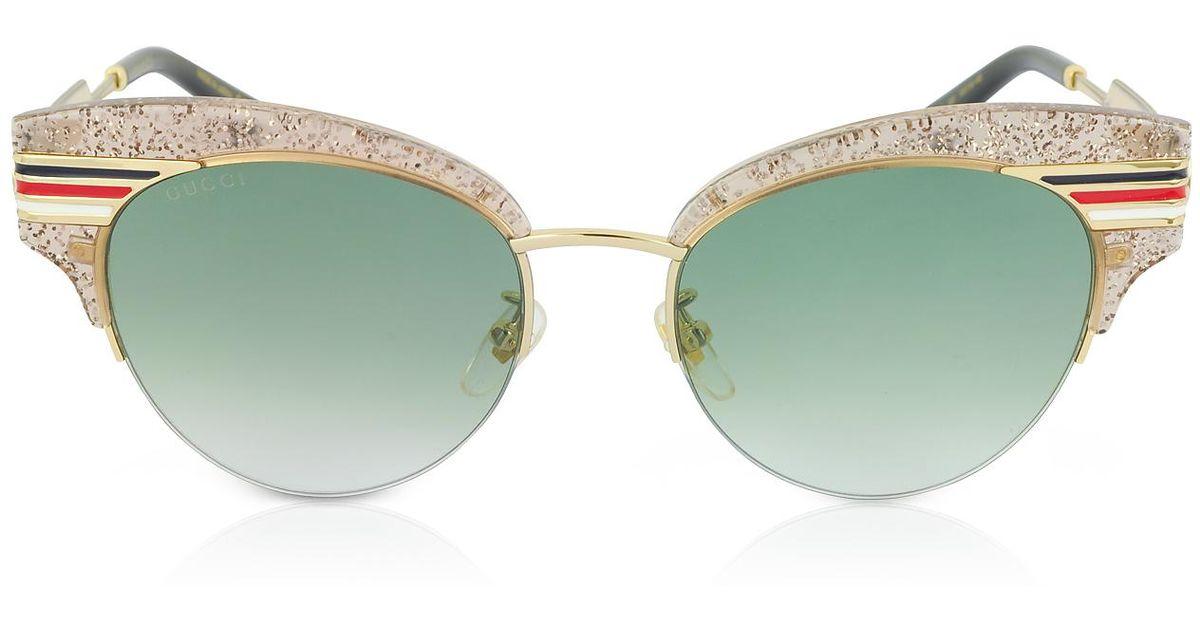 88450fb407c Lyst - Gucci GG0283S Cat Eye Beige Glitter Acetate Sunglasses W sylvie Web  Temples in Metallic