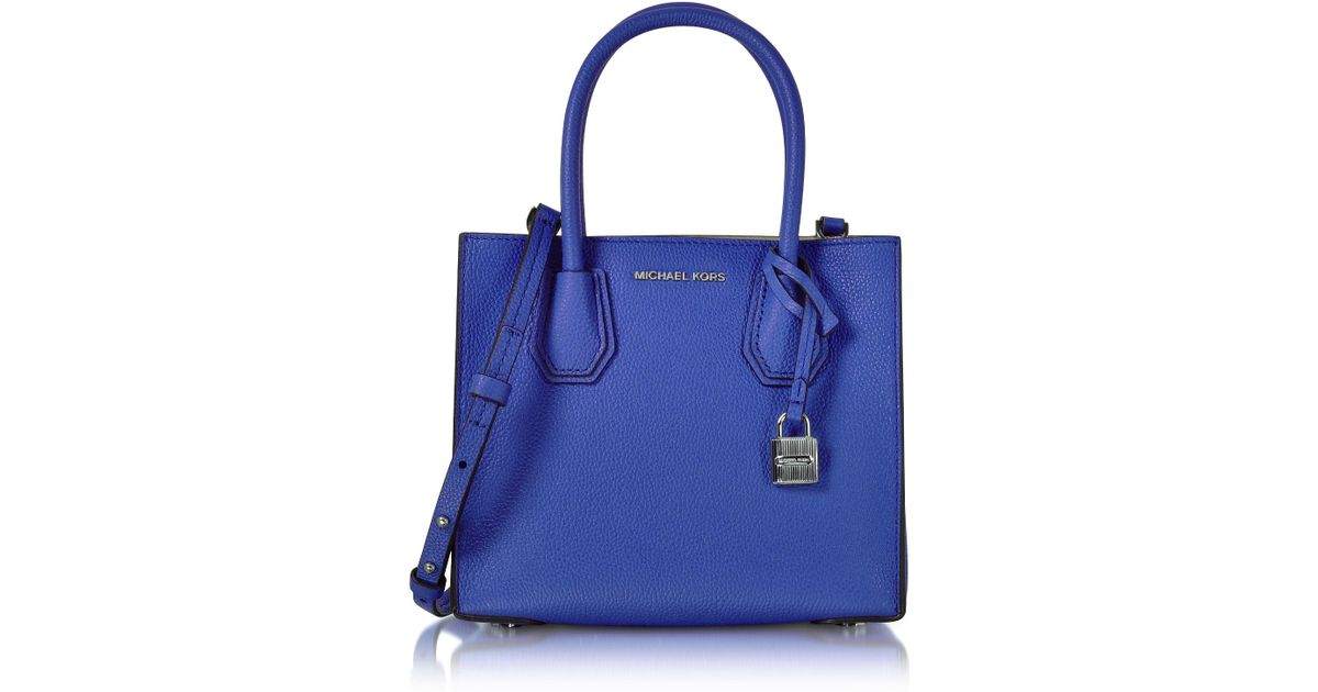 Lyst Michael Kors Mercer Medium Electric Blue Pebble Leather Crossbody Bag In