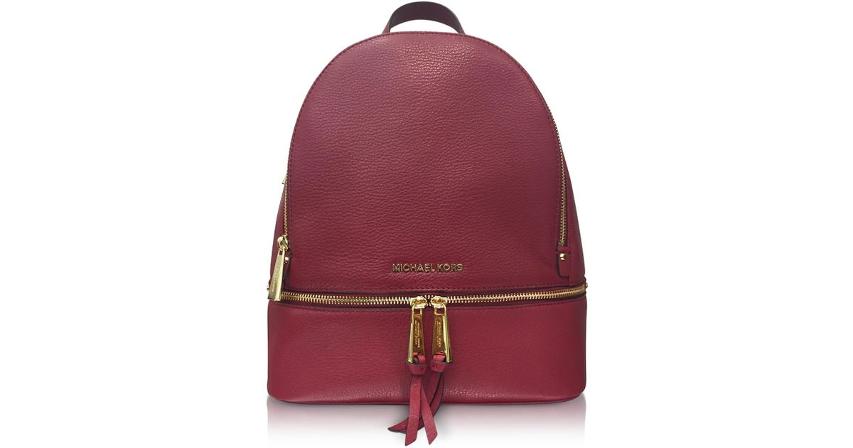 9aa409cac49c08 Michael Kors Rhea Zip Medium Mulberry Leather Backpack in Purple - Lyst