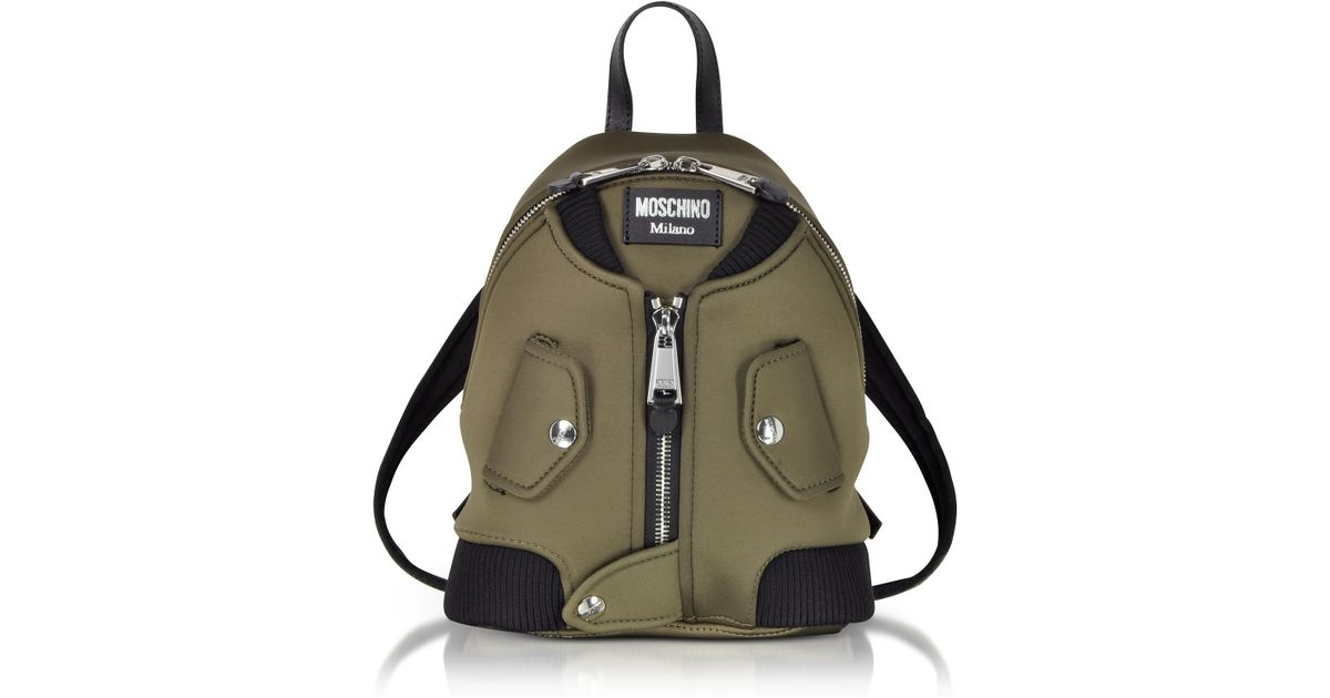 6271cf4663bd Lyst - Moschino Military Green Nylon Bomber Jacket Backpack in Green