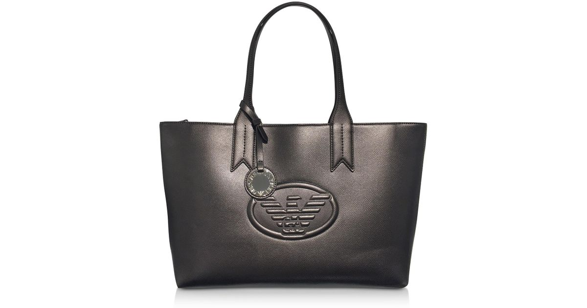 dc2423fb8206 Emporio Armani Dark Gray steel Embossed Logo Large Tote Bag in Gray - Lyst