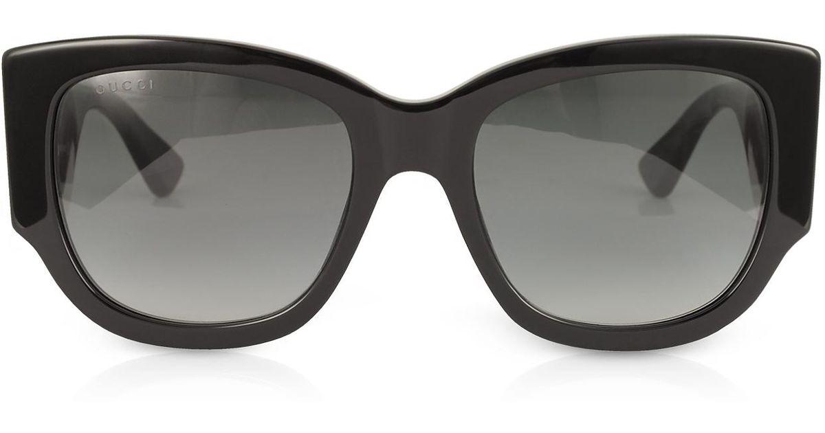 d1b03a728d1 Lyst - Gucci GG0276S Black Oversize Cat Eye Acetate Sunglasses W sylvie Web  Temples in Black