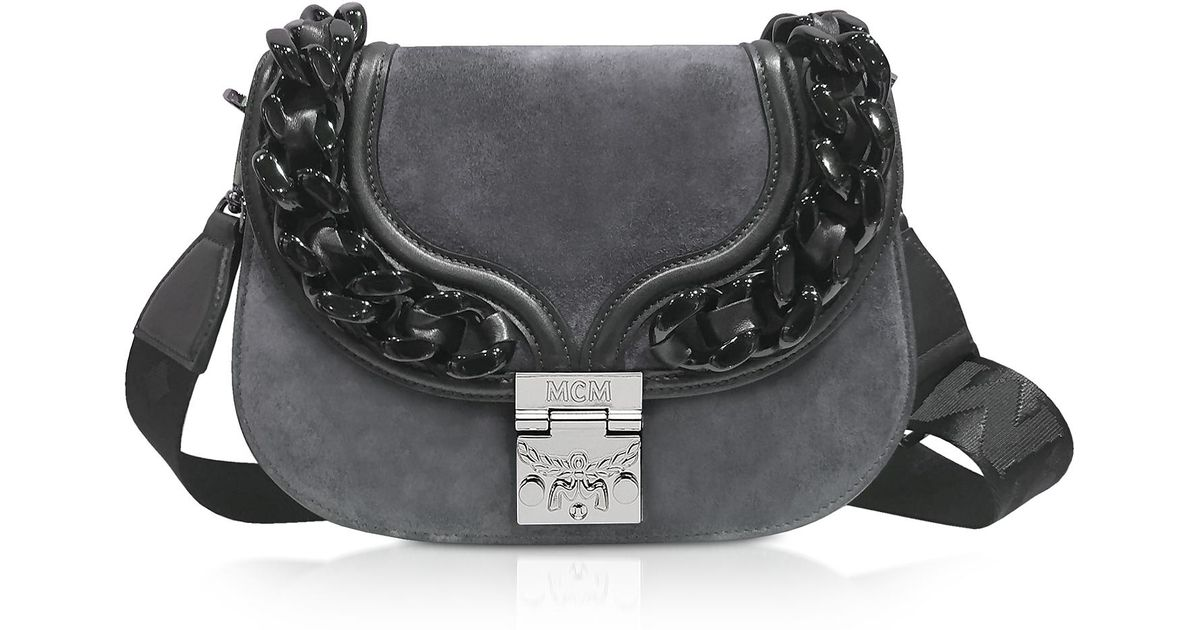 3e1a64399f4 Mcm Trisha Chain Phantom Grey Suede And Leather Small Shoulder Bag in Gray  - Lyst
