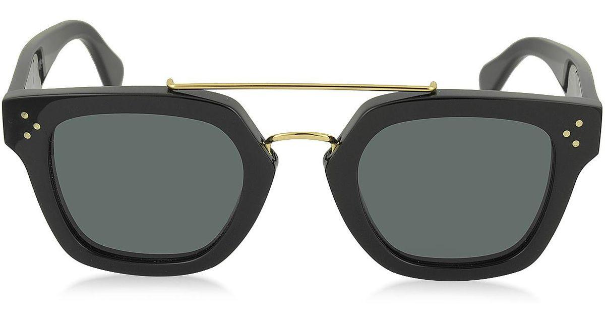 04388e7187b Lyst - Céline Bridge Cl 41077 s 807bn Black Acetate Geometric Unisex  Sunglasses in Black