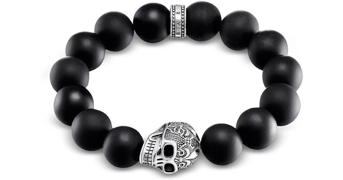 Lyst Thomas Sabo Skull Sterling Silver Men S Bracelet W Obsidian Matt Beads In Black For