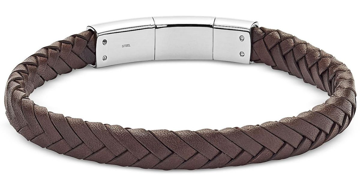 Lyst Fossil Men S Brown Vintage Casual Braided Leather Bracelet In